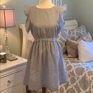 THML Size medium seersucker dress blue and peach